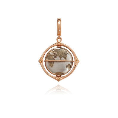 Mythology 18ct Rose Gold Diamond Spinning Globe Charm