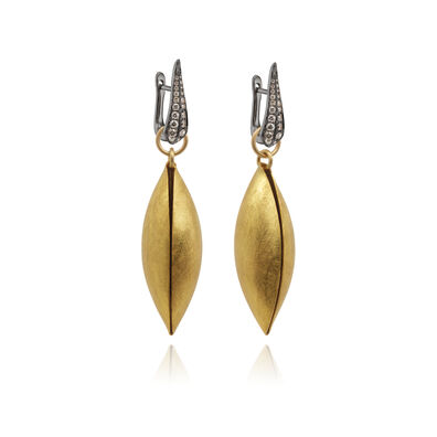 18ct Gold Brown Diamond Seed Earrings