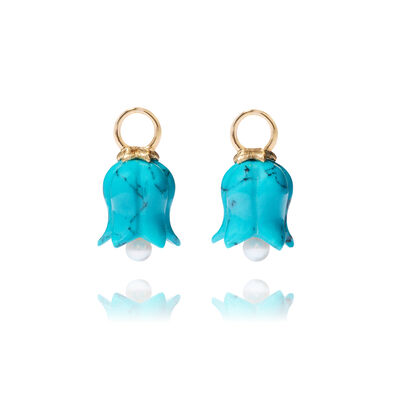 18ct Gold Turquoise Tulip Earring Drops