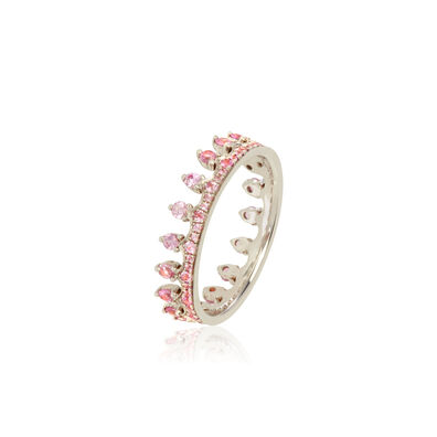 Crown 18ct White Gold Pink Sapphire Ring