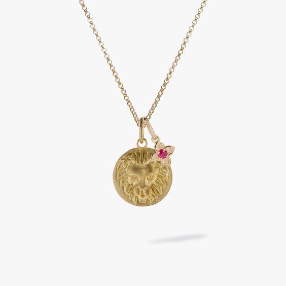 Gold Leo & Ruby July Birthstone Necklace