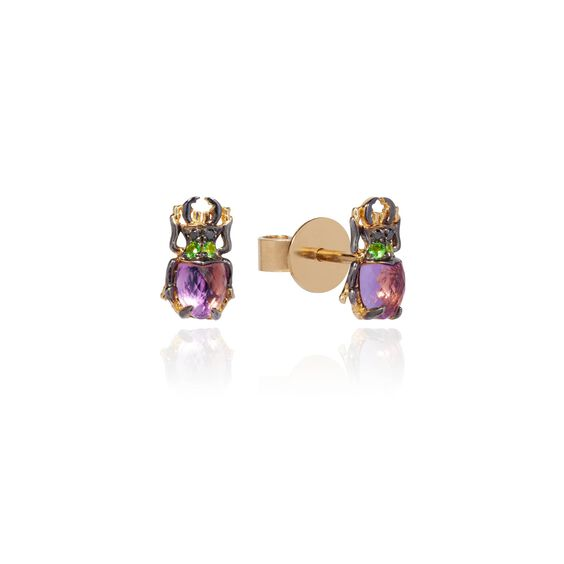 Mythology 18ct Gold Amethyst Beetle Studs | Annoushka jewelley