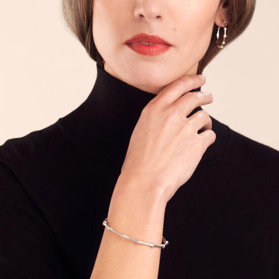 Bamboo 18ct White Gold Diamond Bangle | Annoushka jewelley