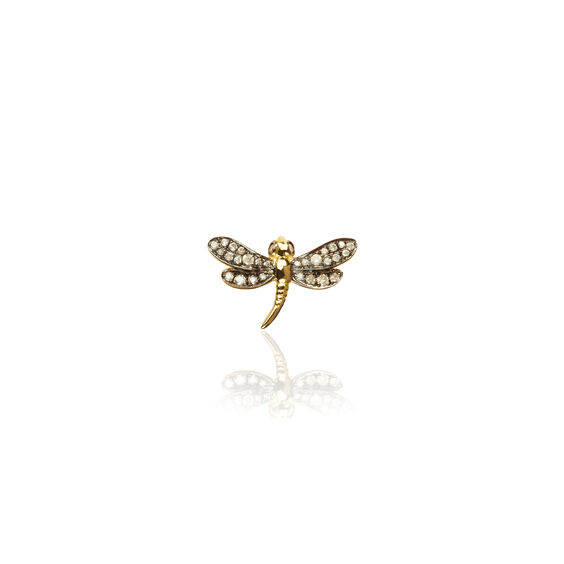 Love Diamonds 18ct Gold Diamond Dragonfly Left Single Stud | Annoushka jewelley