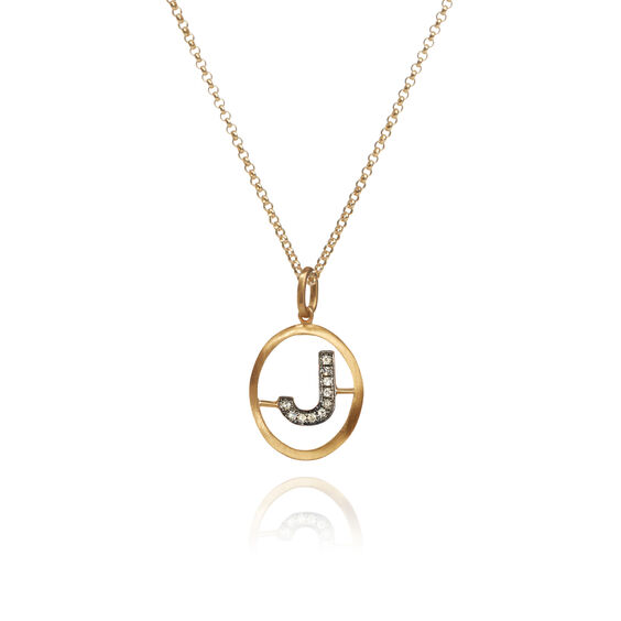 18ct Gold Diamond Initial J Necklace | Annoushka jewelley