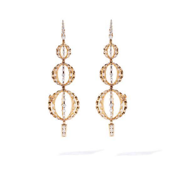 Unique 18ct Gold Diamond Orb Drop Earrings | Annoushka jewelley