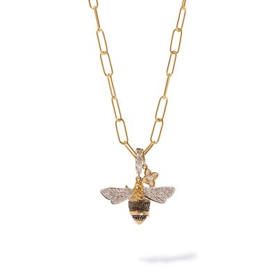 Mythology & Tokens Gold Diamond Bee Necklace