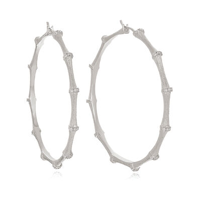 Bamboo 18ct White Gold Diamond Large Hoop Earrings