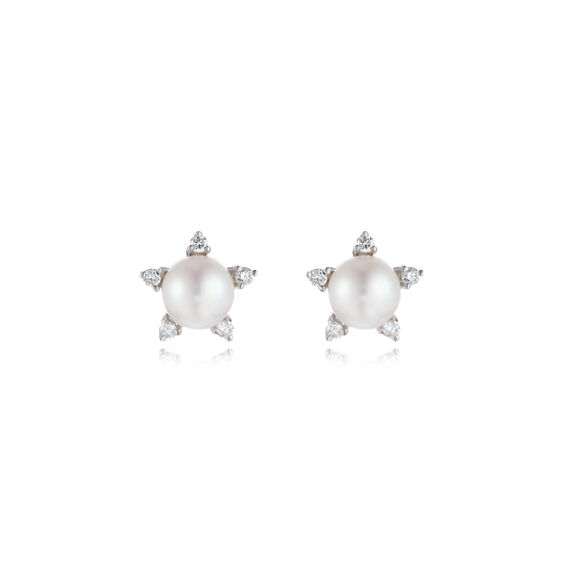 Diamonds & Pearls 18ct White Gold Small Studs: An Online Exclusive