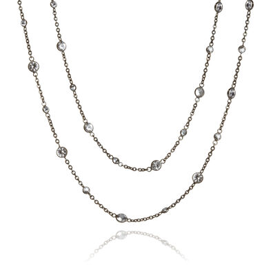 Nectar 18ct White Gold Sapphire Long Necklace