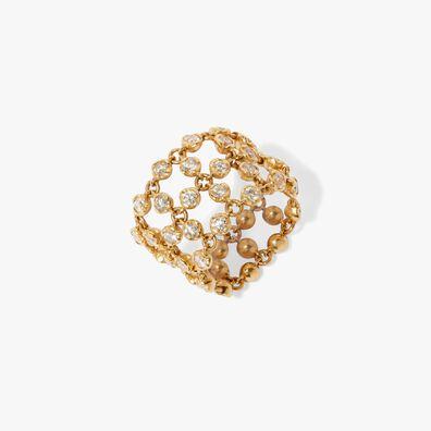 Lattice 18ct Gold Diamond Net Ring