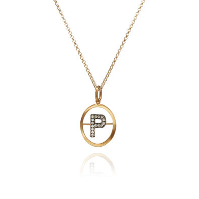 18ct Gold Diamond Initial P Necklace