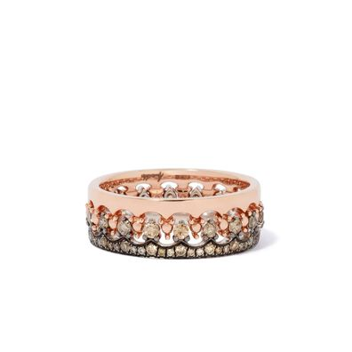 Crown Interlaced Diamond Ring Stack in 18ct Mixed Golds