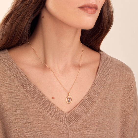 18ct Gold & Diamond Initial V Pendant | Annoushka jewelley