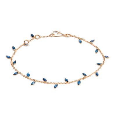 18ct Gold Sapphire Vine Leaf Bracelet