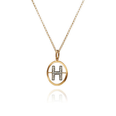 18ct Gold Diamond Initial H Necklace