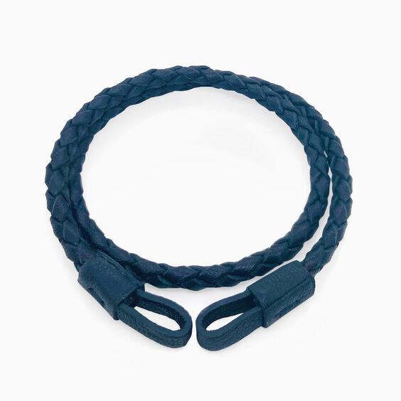 35cms Plaited Navy-Blue Leather Bracelet | Annoushka jewelley
