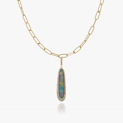 Unique 18ct Gold Opal Pendant Necklace