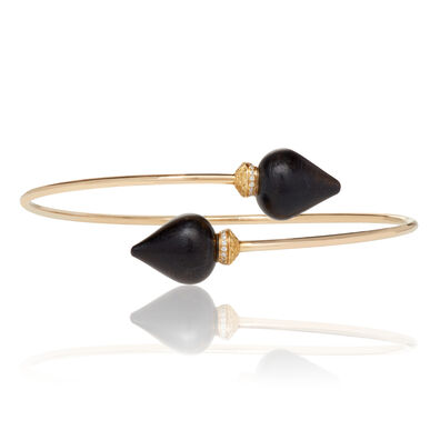 Touch Wood 18ct Gold Diamond Ebony Bangle