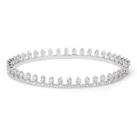 Crown 18ct White Gold Diamond Bangle