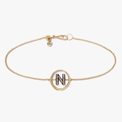 18ct Gold Diamond Initial N Bracelet
