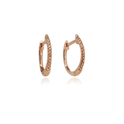 Eclipse 18ct Rose Gold Diamond Fine Hoop Earrings
