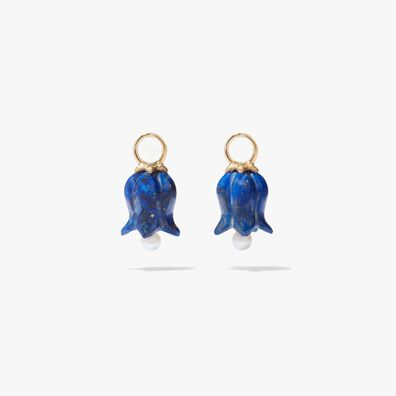 18ct Gold Lapis Lazuli Tulip Earring Drops