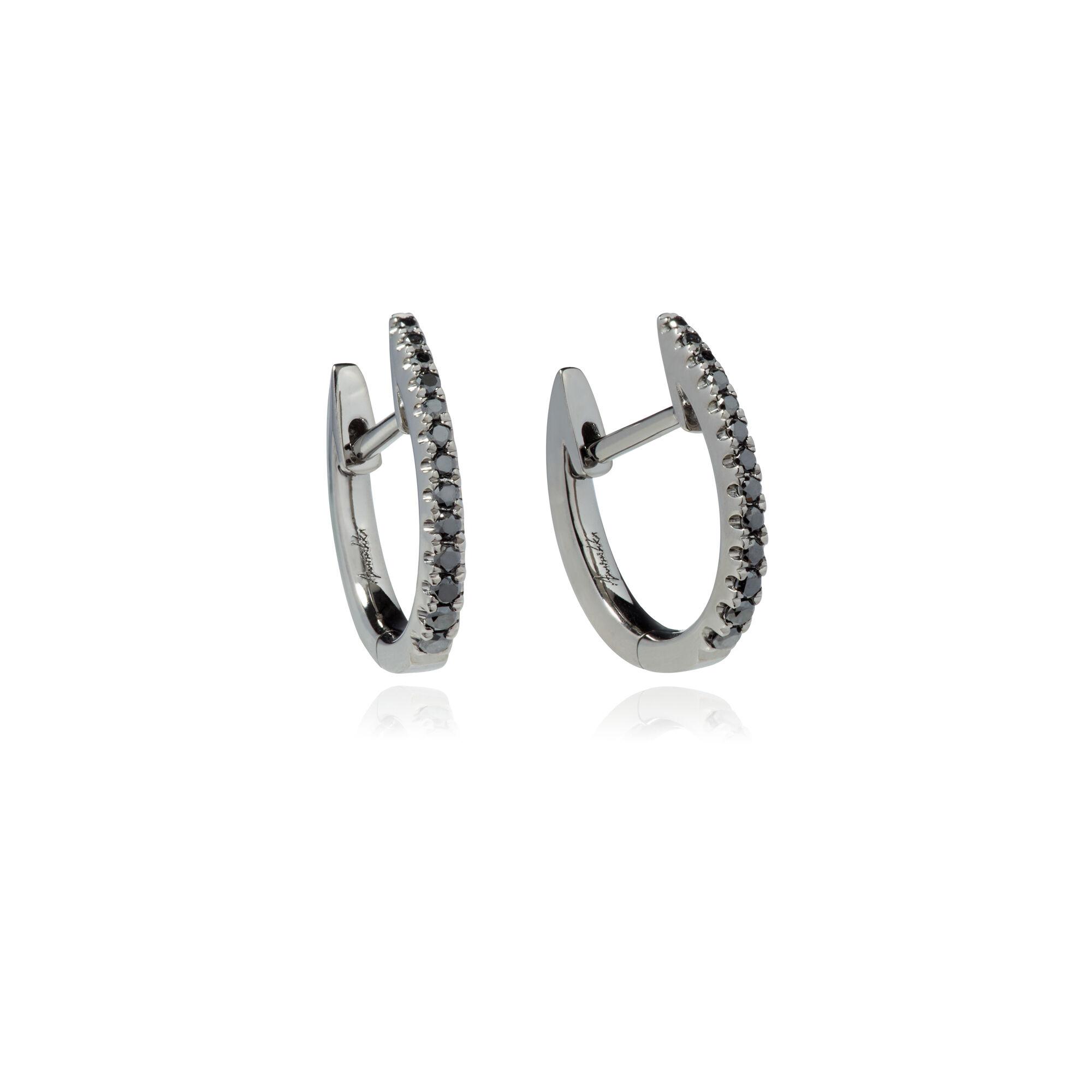 f8ba0752d2344 Eclipse 18ct White Gold Black Diamond Fine Hoop Earrings