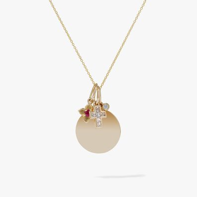 Tokens 14ct Gold Diamond Disc Pendant Necklace