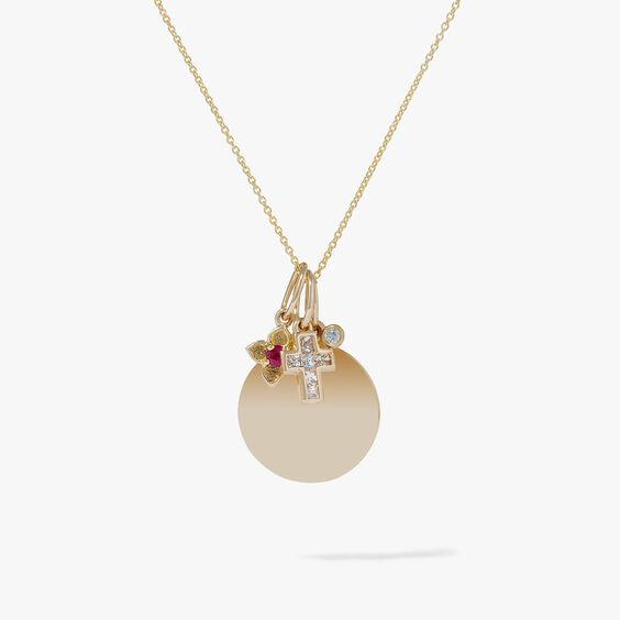 Tokens 14ct Gold Diamond Disc Pendant Necklace | Annoushka jewelley