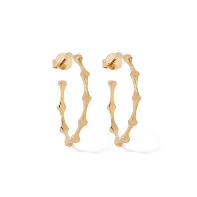 Bamboo 18ct Gold Large Hoop Earrings