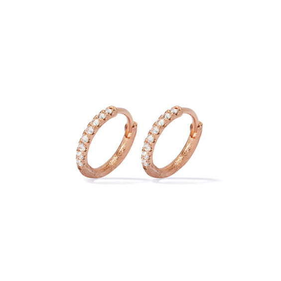 Dusty Diamonds 18ct Rose Gold Diamond 12mm Hoops | Annoushka jewelley