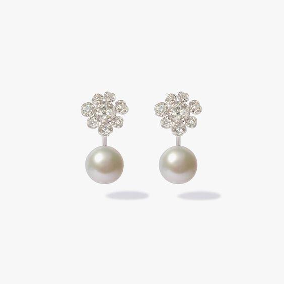 18ct White Gold Diamond Pearl Large Earrings | Annoushka jewelley