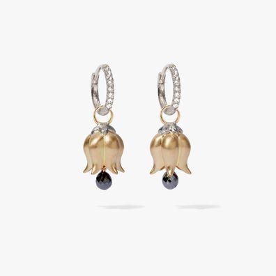 18ct White & Yellow Gold Diamond Tulip Earrings