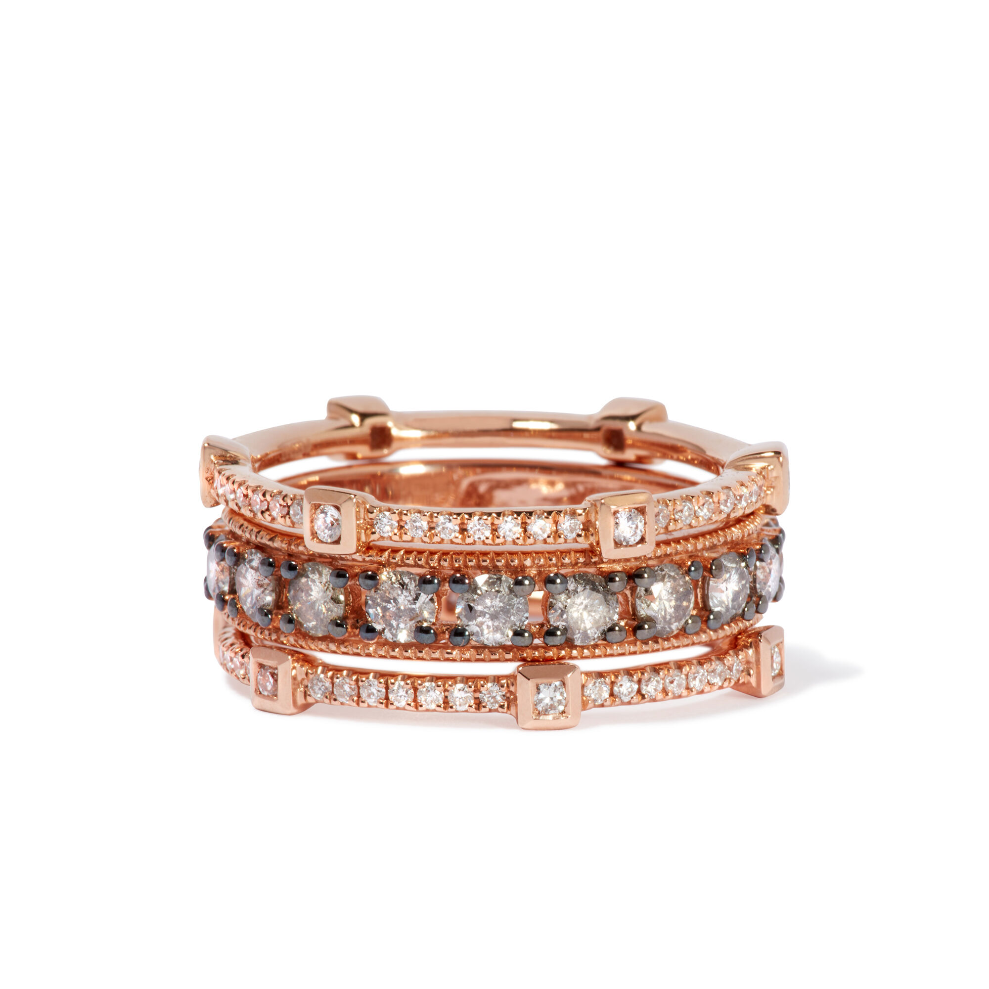 bf0cb2c27ed696 Icy Diamond Ring Stack in 18ct Rose Gold. Click to expand