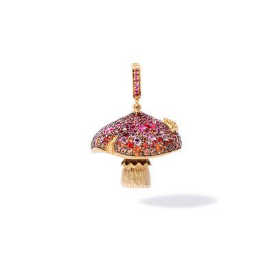 18ct Gold Ruby & Sapphire Diamond Magic Mushroom Charm
