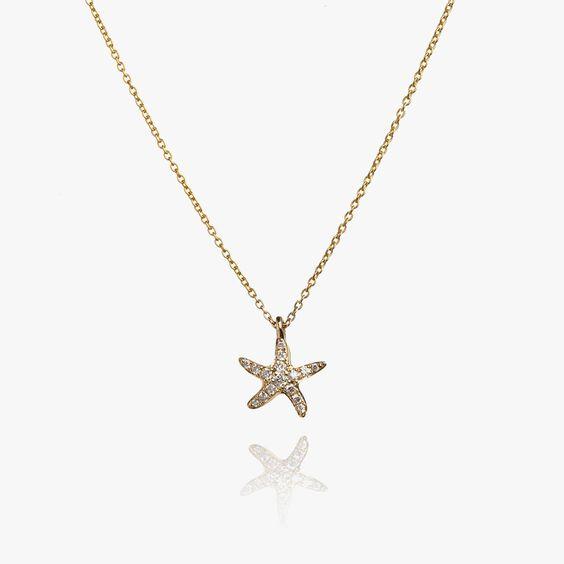 Love Diamonds 18ct Gold Diamond Starfish Necklace