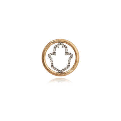 18ct Gold Diamond Hand of Fatima Hoopla