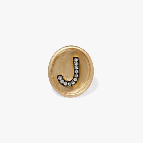 18ct Gold Diamond Initial J Face   Annoushka jewelley