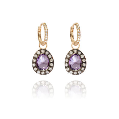 Dusty Diamonds 18ct Gold Amethyst Earrings