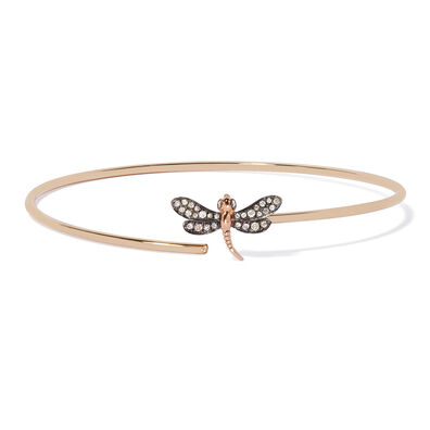 18ct Gold Diamond Dragonfly Bangle