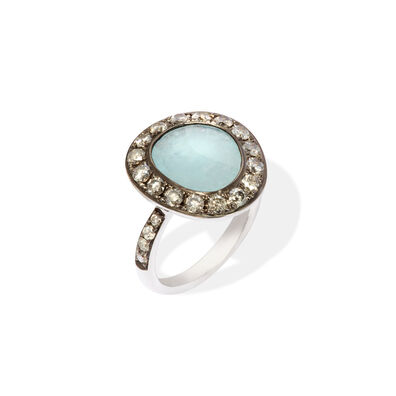 Dusty Diamonds 18ct White Gold Aquamarine Ring