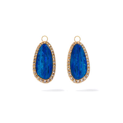 Unique 18ct Yellow Gold Opal Diamond Earring Drops