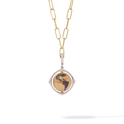 Mythology 18ct Gold Spinning Globe Mini Cable Necklace