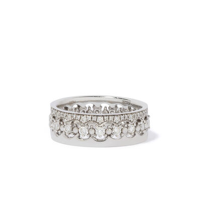 Crown Interlaced Diamond Ring Stack in 18ct White Gold