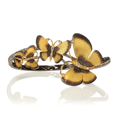 Butterflies 18ct Gold Diamond Bangle