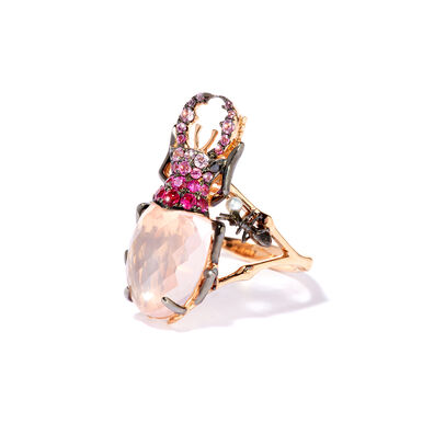 Mythology 18ct Rose Gold Rose Quartz Beetle Ring