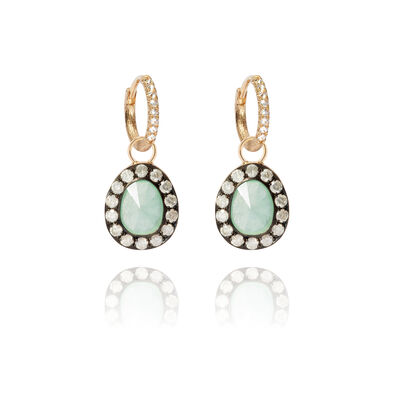 Dusty Diamonds 18ct Gold Jade Earrings