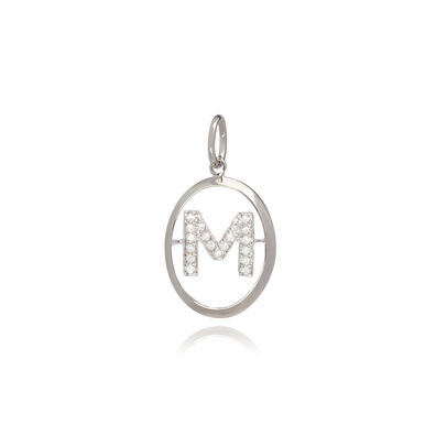 18ct White Gold Initial M Pendant
