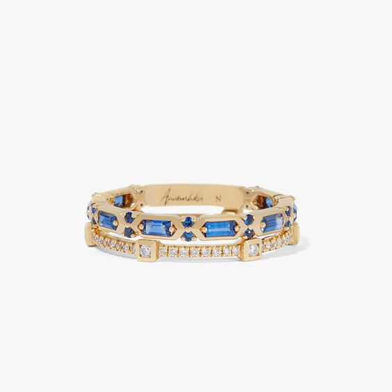 18ct Gold Blue Sapphire Baguette Ring Stack
